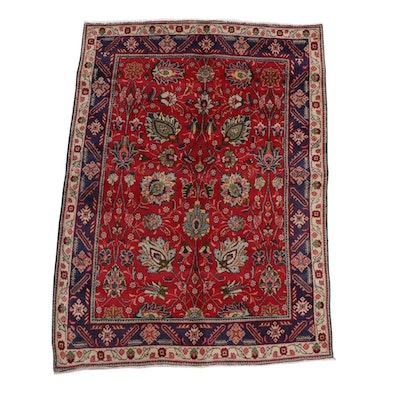 4'7 x 6'5 Hand-Knotted Persian Tabriz Wool Rug