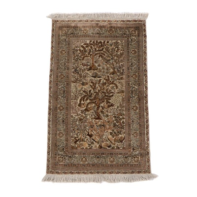2'5 x 4'4 Finely Hand-Knotted Persian Qum Tree of Life Silk Accent Rug