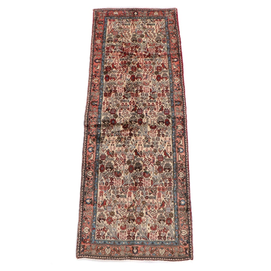 3'7 x 10'3 Hand-Knotted Persian Pictorial Wool Long Rug