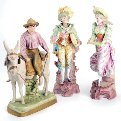 """Royal Dux """"Boy on Donkey"""" with Victorian Revival Figurines"""