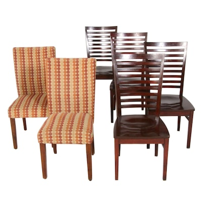 Set of Six Transitional Style Ladderback and Chenille Upholstered Dining Chairs
