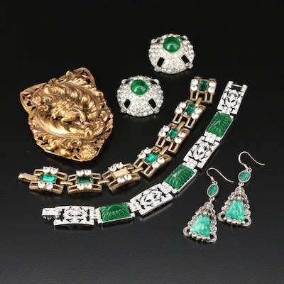 Vintage Rhinestone and Glass Jewelry Selection Including Kenneth J Lane