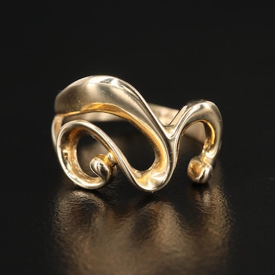 14K Yellow Gold Scrollwork Ring