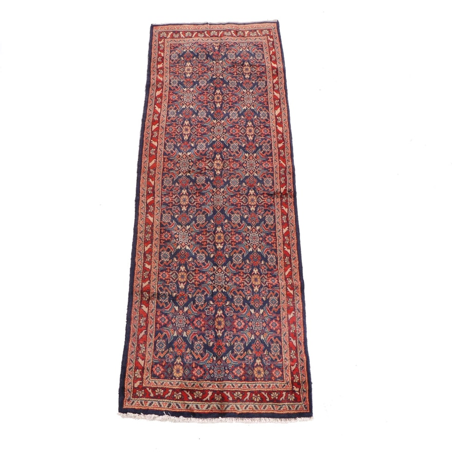 3'6 x 10'1 Hand-Knotted Persian Hamadan Wool Long Rug
