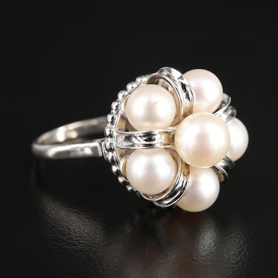 Cultured Pearl Crown Motif Ring