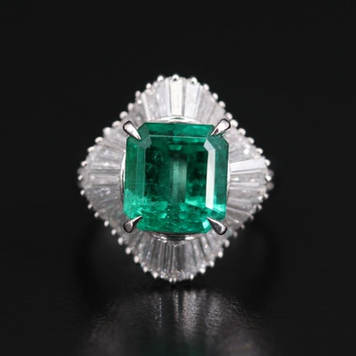 Platinum 4.18 CT Colombian Emerald and 1.30 CTW Diamond Ring with GIA Report