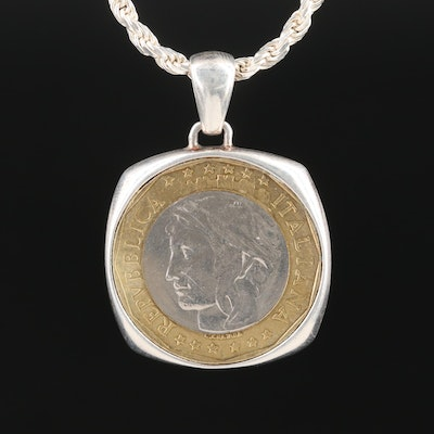 1997 Italian 1000 Lire Bi-Metallic Coin on a Sterling Silver Chain