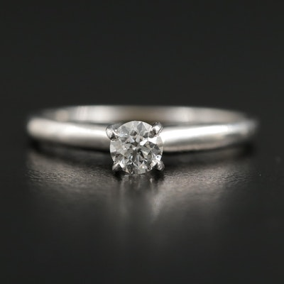 14K White Gold 0.31 CT Diamond Solitaire Ring