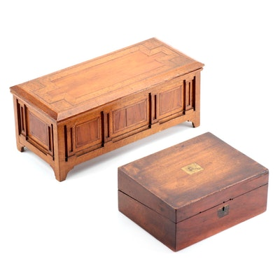 Maple Writing Box with Oak and Fruitwood Marquetry Miniature Coffer