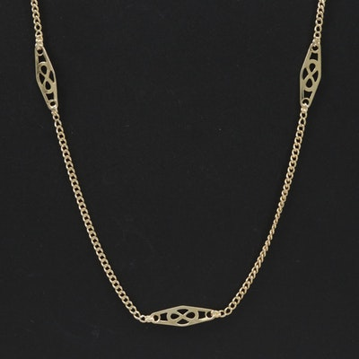 14K Yellow Gold Station Necklace