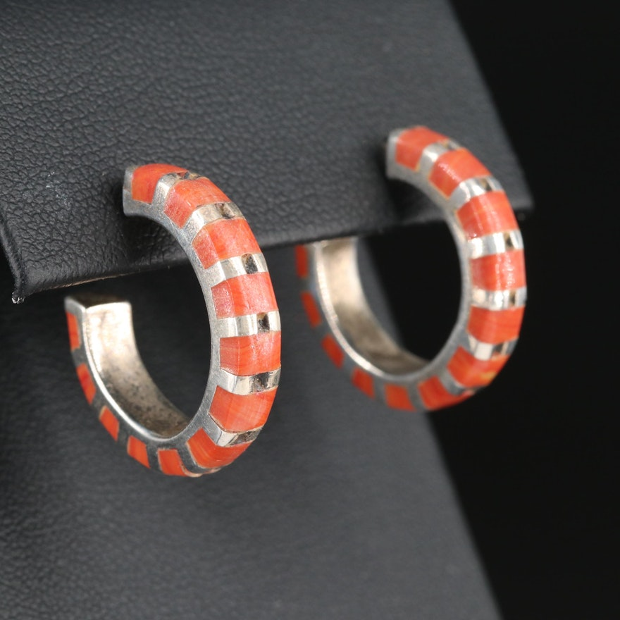Sterling Silver Glass Inlay Hoop Earrings
