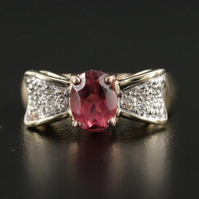 14K White Gold Pink Tourmaline and Diamond Ribbon Motif Ring