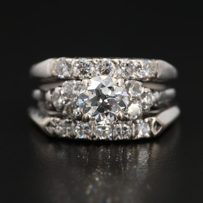 Vintage 14K White Gold and Platinum 2.00 CTW Diamond Ring