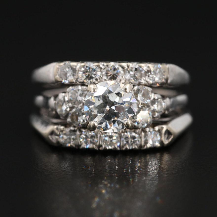 Vintage 14K White Gold and Platinum 2.00 CTW Diamond Ring
