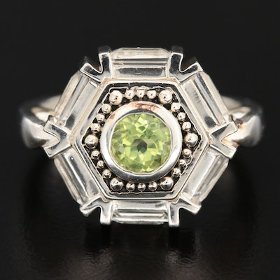 Sterling Silver Peridot and Topaz Ring