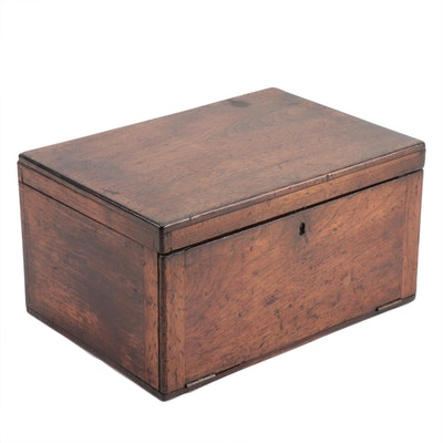 Walnut Lift-Lid and Fall-Front Table Box, 19th Century