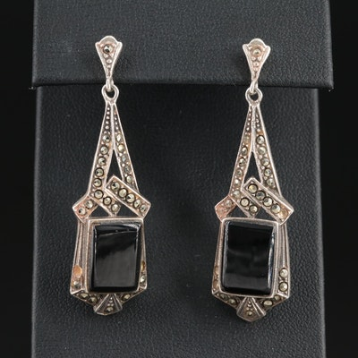 Sterling Silver Black Onyx and Marcasite Dangle Earrings