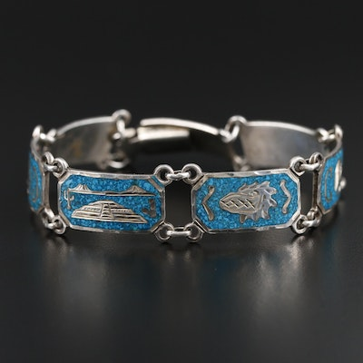 Mexican Aztec Sterling Silver Chip Turquoise in Resin Inlay Bracelet