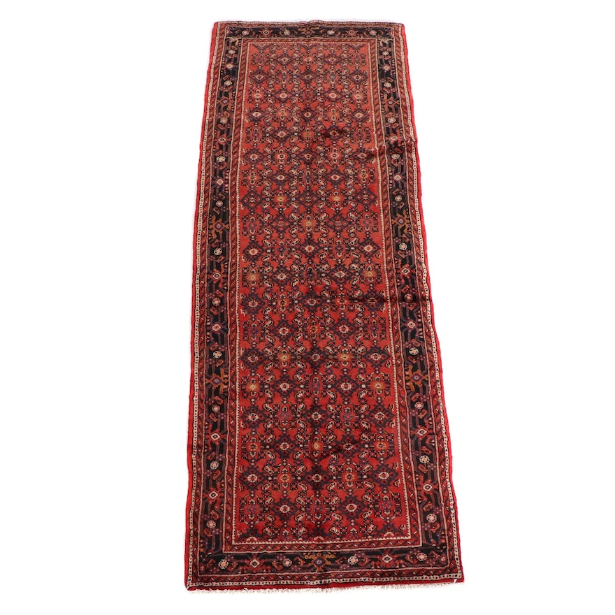 3'10 x 10'5 Hand-Knotted Persian Hamadan Wool Long Rug