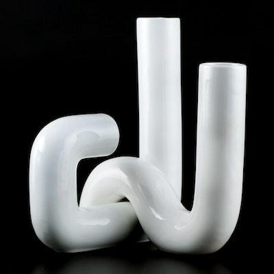 """Alvino Bagni For Raymor White Ceramic """"Tubo"""" Vases"""