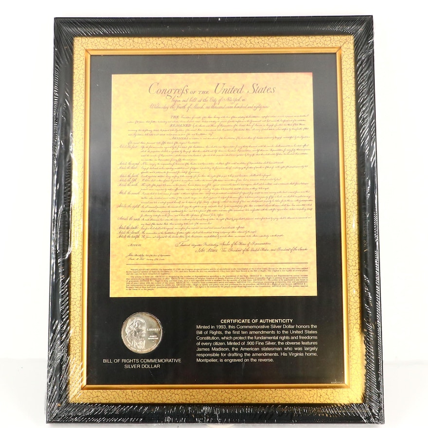 1993-D James Madison Commemorative Silver Dollar and Bill of Rights Set