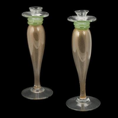 Murano Style Art Glass Candlesticks