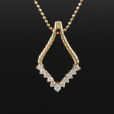 18K Yellow Gold Diamond Pendant on 14K Yellow Gold Chain