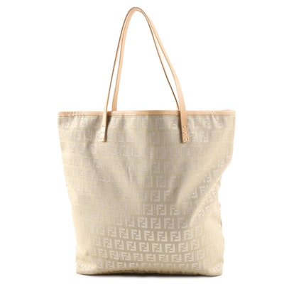 Fendi Zucchino Tonal Jacquard and Leather Tote