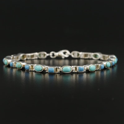 Sterling Silver Bracelet Featuring Blue and Teal Resin Accents