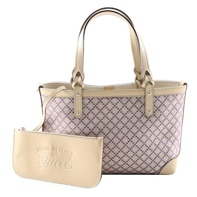 "Gucci Diamante Canvas and Leather Tote with ""Made In Italy By Gucci"" Pochette"