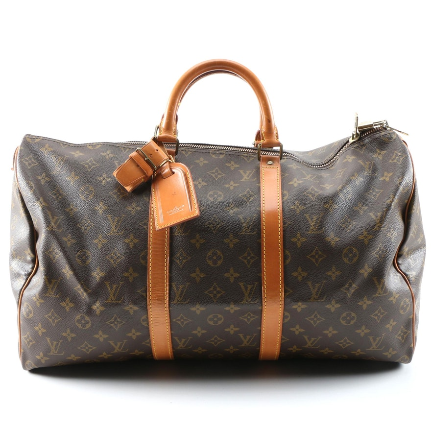 Louis Vuitton Keepall 50 Duffel Bag in Monogram Canvas and Leather, Vintage