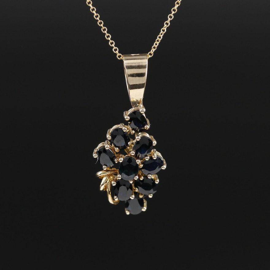 14K Yellow Gold Blue Sapphire Pendant Necklace