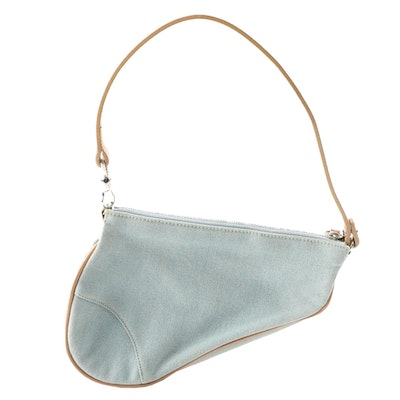 Christian Dior Saddle Baguette in Light Blue Denim and Natural Leather