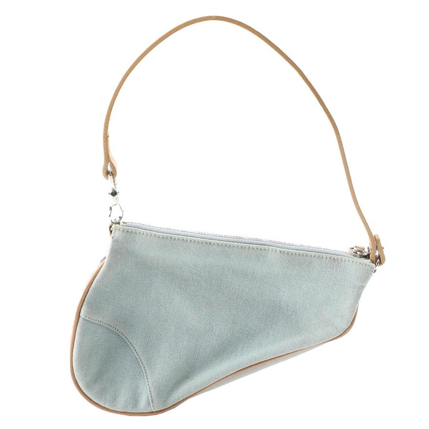 Christian Dior Saddle Baguette in Light Blue Denim and Natural Leather