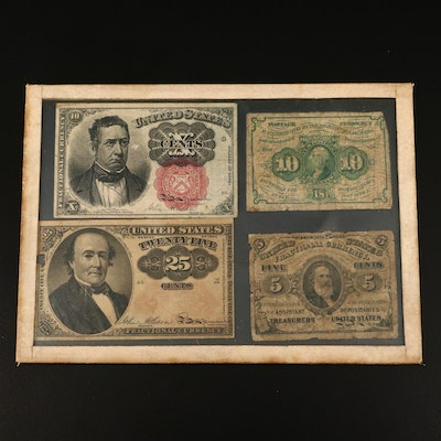 Framed Four-Piece Set of 19th Century U.S. Fractional Currency