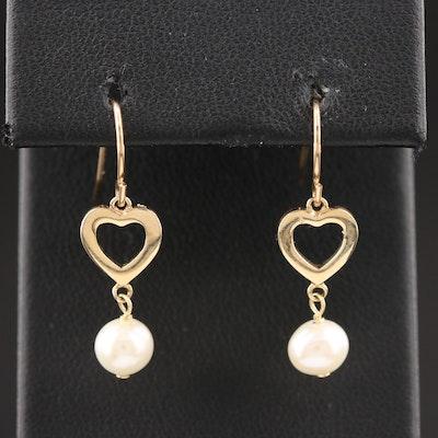 10K Yellow Gold Pearl Heart Drop Earrings