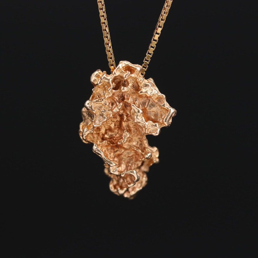 14K Gold Nugget Motif Pendant on 18K Gold Box Chain Necklace