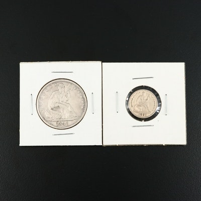 1845 Liberty Seated Silver Half Dollar and 1891 Liberty Seated Silver Dime