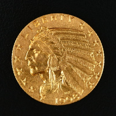 1908 Indian Head $5 Gold Half Eagle Coin