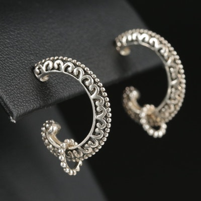 Sterling Silver Curled Earrings Featuring Scrollwork Motif