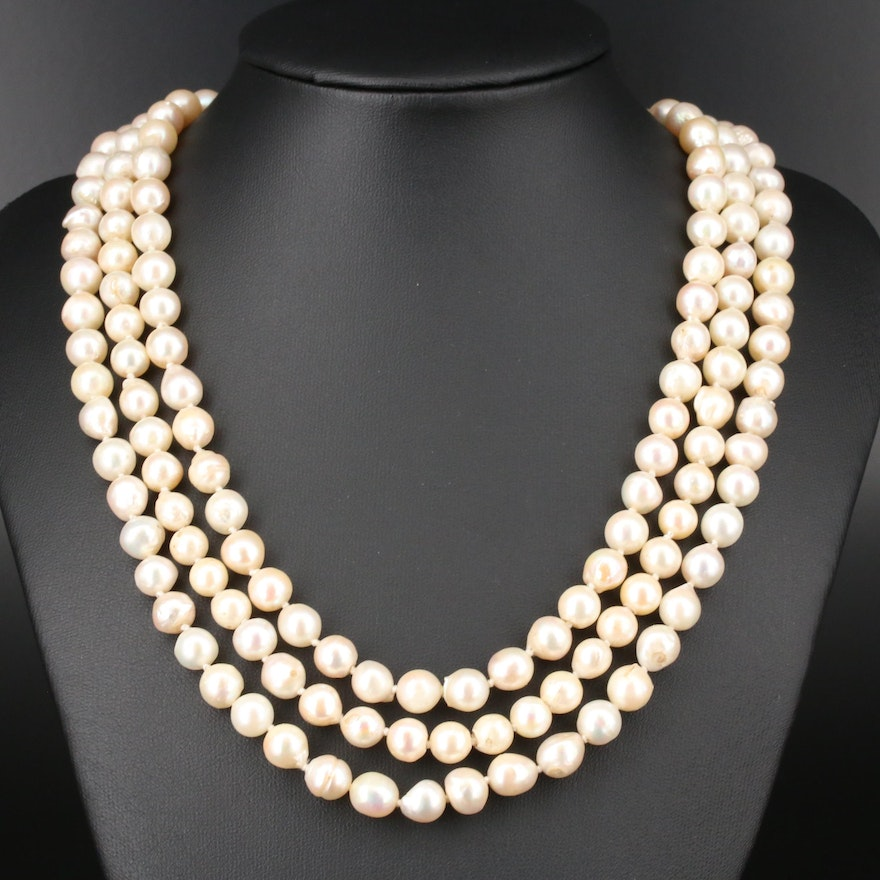 Triple Strand Pearl Necklace Featuring 14K Yellow Gold and Multi-Gemstone Clasp
