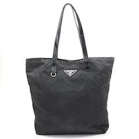 Prada Tessuto Nylon and Leather Tote Bag in Black