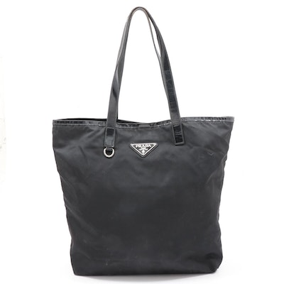 Prada Tessuto Nylon and Leather Tote Bag in Black