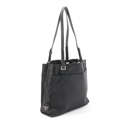 Prada Black Tessuto Nylon Tote Bag with Leather Straps