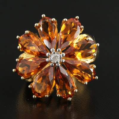 Sterling Silver Citrine and Diamond Ring Featuring Flower Motif