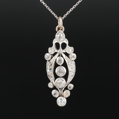 14K White Gold and Platinum 1.78 CTW Diamond Pendant Necklace