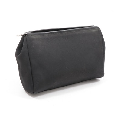 Gucci Black Nylon Zip Top Clutch with Leather Trim