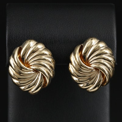 14K  Yellow Gold Knot Motif Button Earrings