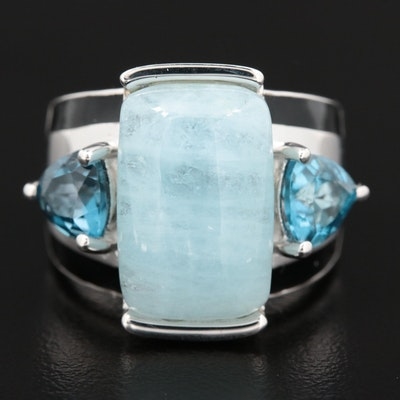 Sterling Silver Aquamarine and Topaz Ring With Enamel Accents
