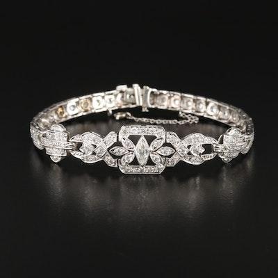 Vintage Platinum 2.96 CTW Diamond Bracelet